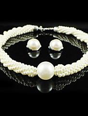 豪華な合金/人造真珠♥ジュエリーセット(ネックレス、ピアス)