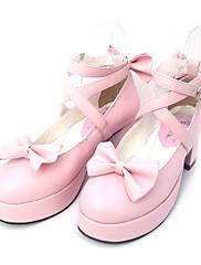 Boty Sweet Lolita Princeznovské Vysoký podpatek Boty Mašle 6.5 CM Černá Růžová Pro PU kůže/Polyurethanová kůže Polyurethanová kůže