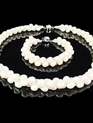 nádherná sladká voda pearl / crystal svatba svatební šperky set, včetně náhrdelník a náramek