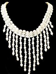 Nádherná sladká voda perla / krystal svatební svatební náhrdelník