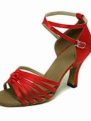 Non Přizpůsobitelné - Dámské - Taneční boty - Latina / Taneční sál - Satén - Jehlový podpatek - Červená