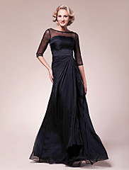 Lanting Bride® A-Linie Větší velikosti / Malé Šaty pro matku nevěsty Na zem Poloviční rukáv Šifón / Elastický satén - Korálky / Boční