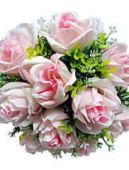 ruborizada de satén rosa ramo de novia