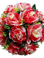 teñido rosa roja ramo de novia de satén