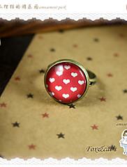 ts nastavitelná červená polka dot kroužek (1.4x1.4cm)