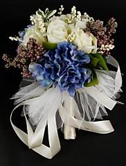 "Svatební kytice Kulatý Růže Kytice Satén Bavlna 26 cm (cca 10,24"")"