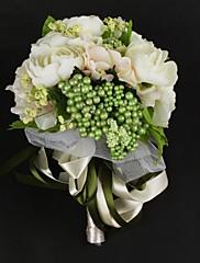 nádherný saténový / bavlna se stuhou kulatý kytice tvaru svatební