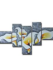 ručně malované květinové olej s rozprostřeným rámem - sada 5