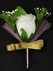 Svatební kytice bez formy Pivoňky Kytičky do klopy Svatba Satén / Bavlna Bílá
