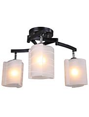 moderní lustr s 3 světly v teplým světlem