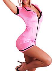 セクシーなピンクの女性パイロットハロウィンコスチューム(孔版)