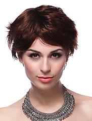 Elegantní capless 100% lidské vlasy krátké hnědé vlasy, paruky