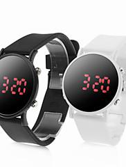 10 párů sportovní styl hodinek červené želé vedených zápěstí - black & white
