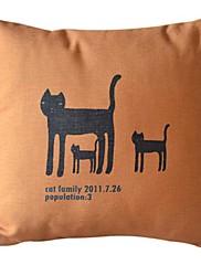 猫の家族コットン/リネン装飾枕カバー