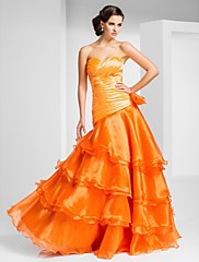 TS Couture Promoce Formální večer Šaty - Otevřená záda A-Linie Princess Bez ramínek Srdce Na zem Organza sKvětina(y) Volánky Boční řasení