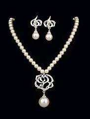 ネックレスを含むラインストーンレディースジュエリーセットが付いている優雅な真珠、イヤリング