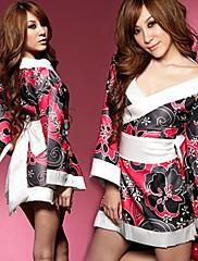 Sladká dívka černé a červené květinové polyester kimono kostým (3 ks)