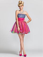 a-line/princess bez ramínek krátké / mini satén a tyly koktejlové / večerní šaty s korálky