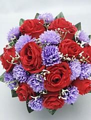 Precioso Satin forma redonda de novia de la boda Bouquet