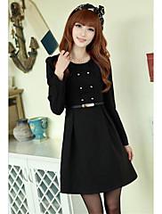 černá dvojitá prsa linka šaty s páskem