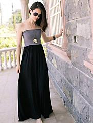 černá maxi barevný blok šaty bez ramínek