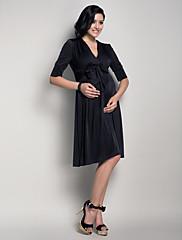 LAN TING BRIDE Ke kolenům Do V Šaty pro družičky - Malé černé šaty Poloviční rukáv Úplet