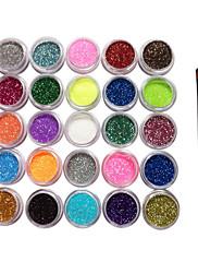 25 Barvy Glitter Prášek Dekorace Nail Art s kartáčem