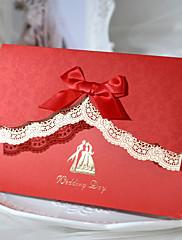 繊細なカットアウトの結婚式の招待(50セット)
