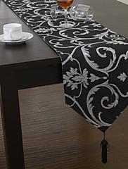 古典的なポリエステルジャガード黒花テーブルランナー