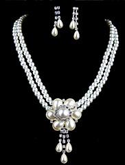 ネックレスとイヤリングを含むパール/ラインストーンの花の結婚式の宝石類セットでメッキ魅力的な合金の銀