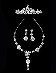 ネックレス、ティアラとイヤリングを含むラインストーンブライダルジュエリーセットでメッキクラシック合金銀