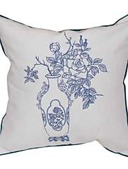 """18 """"スクエアエレガントな花の刺繍の綿の装飾的な枕カバー"""