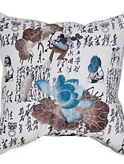 """18 """"スクエアロータス刺繍コットン装飾枕カバー"""