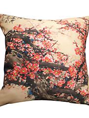 """18 """"スクエアプラムプリントポリエステル装飾的な枕カバー"""