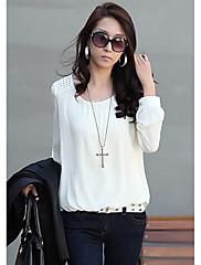 CHAOLIU女性のファッションパフスリーブシフォンボトミングシャツ(ネックレスなし)