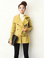 Dream Dámské módní waisting dvouřadové Short Tweed Coat (žlutá)