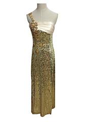 Lady Antebellum Nádherná jedno rameno Slim Golden večerní šaty