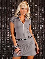 Hluboce V Charming Lady Gray Noční klub Sexy Party Uniform (pro velikost M)