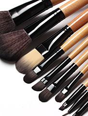 15ks Makeup Brush Set Syntetické vlasy Přírodní dřevo rukojeť s černou koženou tašku