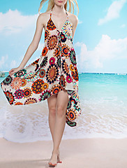 Bohemia Floral Print Halter Swim šaty