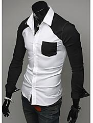 メンズ春のコントラストカラーカジュアルシャツ