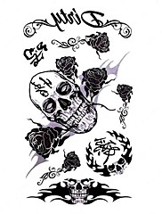 5 ks Skull VS Rose Vodotěsné Dočasné tetování (10,5 cm * 20,5 cm) HM305