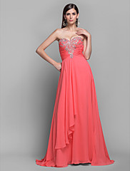 a-line/princess恋人の床長さのシフォン猶予イブニング/ウェディングドレス