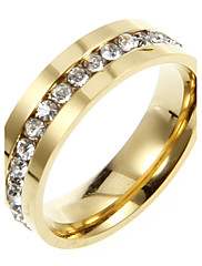 Klasická Titanium S drahokamu Gold Unisex prstenů