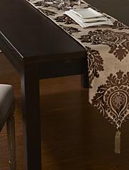 ヨーロピアンスタイルの浅いカーキ高密度ジャカードテーブルランナー