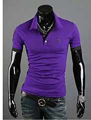Wshgyy Pánské Korean Bodycon klopě krk Fawn Výšivky Purple T-Shirt