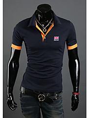 Wshgyy Pánské Bodycon klopě Neck Krátký rukáv Vyšívací Navy Blue T-Shirt