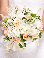 bonita forma redonda ramo de novia de seda