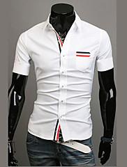 Wshgyy pánské s krátkým rukávem pro volný čas Bodycon klopě Neck White Shirt
