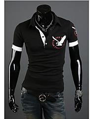 Wshgyy pánské s krátkým rukávem klopě krk Eagle Pattern Black T-Shirt